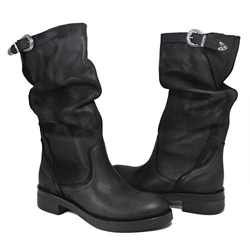 In Time Stivali Biker Boots Metà Polpaccio Donna 0298 nabuk Nero Arricciati in Vera Pelle Made in Italy Nero