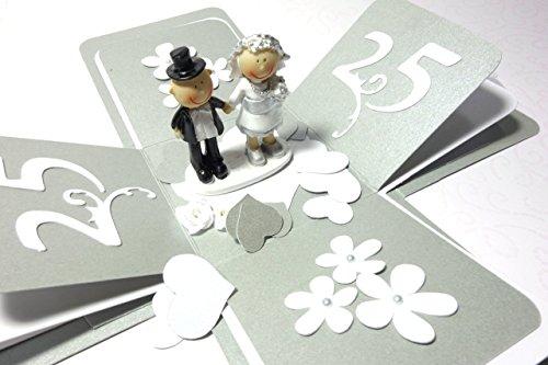 Geschenk Geldgeschenk Geschenkverpackung zur Silberhochzeit Silberne Hochzeit Silberpaar handgefertigt Explosionsbox Jubelpaar
