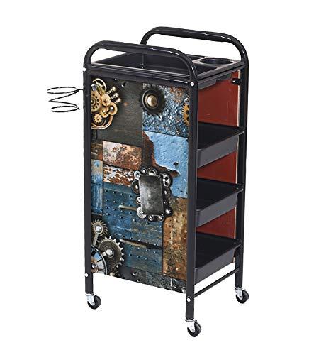 Retro Friseurwagen Gear Storage Cart 5/4 Ebenen Salon SPA Coloring Beauty Salon Haartrockner Halter mit 4/3 Schubladen für Tool Car,Black,3layers - 5 Schublade Storage Cart