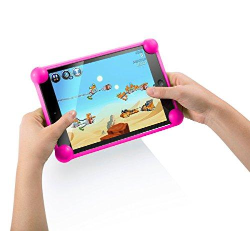 """cover tablet 7 pollici Cover tablet 7 pollici silicone universale Unitab® prodotto brevettato compatibile con tutti i modelli e le marche di tablet da 7 """" sul mercato custodia tablet 7 pollici universale rosa"""