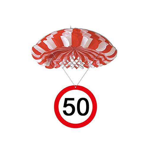 Preis am Stiel 1 x Geburtstags Deko - Fallschirm 50. | Geburtstag | Hängedeko