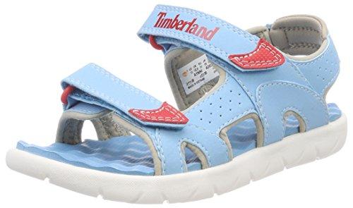 Timberland Unisex Kinder Perkins Row 2-Strap Pantoletten, Blau (Lite Blue K33), 34 EU (Lite-strap)