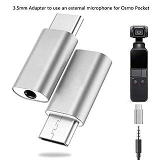 AmaSells DJI OSMO Pocket Drone Zubehör ❤ Typ C USB C auf 3,5 mm Audio-Adapter für externes Mikrofon für Osmo Pocket (Silber)