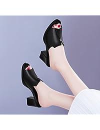 Jqdyl Tacones El Nuevo Grueso con Zapatos de Tacón Alto Sandalias de Cabeza Fuera de Moda de Verano, 34, Negro