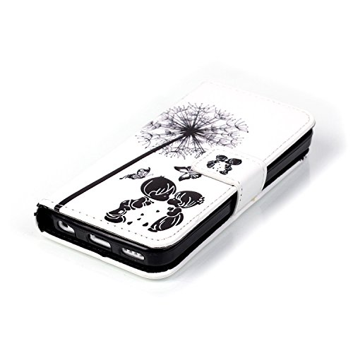 iPhone 5C Wallet Case Cover - Felfy Ultra Slim Flip-Style Magnetic Closure PU Étui Portefeuille Housse Etui Colorful Painting Design (Pissenlit Vert) Wallet Cuir Coque + 1x Argent Stylus + 1x Bling Ko Boys and Girls