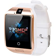 VOSMEP Smart Watch Apro Watch Phone Orologio Cellulare Telefonico supporto Facebook Whatsapp con Bluetooth 3.0 con Built-in 8G di Memoria Bracciale Intelligente Sport Bracelet con Camera Touch Screen per Android Samsung HTC Xiaomi LG Huawei SIM Smartphones (Bianco) SM7