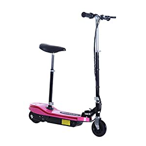 HOMCOM 120W Kids E Scooter Ride on Folding Electric Bike Children Sports Toy Height Adjustable w/ 2 12V Rechargeable Battery (Pink)