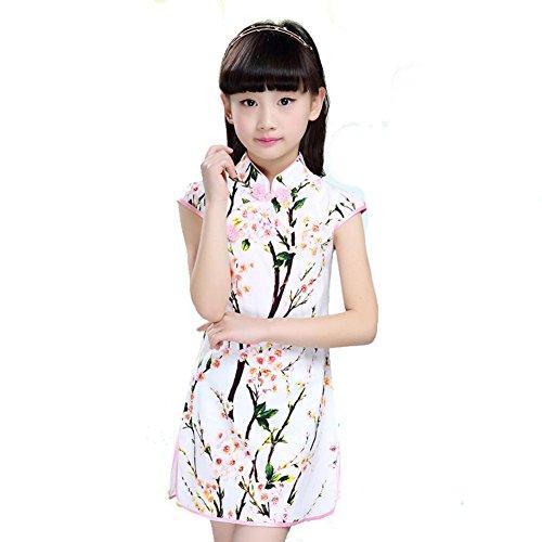 Wgwioo Kinder Cheongsam Mädchen Kleider Prinzessin Rock National Tanz Kostüme Klassische Bühne Aufführungen Chor Gruppe Team, 2#, 140Cm