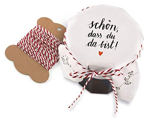 25 Marmeladendeckchen - schön, DASS du da bist! | Gläserdeckchen Weiß mit Blumen für Marmelade, Marmeladengläser & Einmachgläser | Recyclingpapier Abreißblock + 10 m Garn + Justiergummi