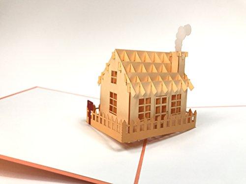 3D-Grußkarte / Geschenkkarte, lasergeschnitten, handgefertigt, Pop-Up-Karte, inkl. Umschlag 2035 - Haus Pop
