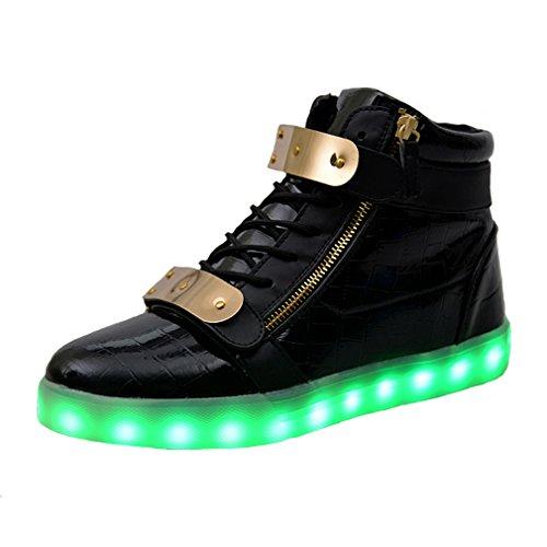 ukStore Unisex High Top 7 Farben Blitzen Turnschuhe LED Licht Farbwechsel Sneakers, schwarz (Für Neue Halloween Herren 2017 Kostüme)