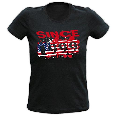 Cooles T-Shirt zum 18.Geburtstag für Damen : Usa 1999 Goodman Design® -- Geburtstagsshirt 18 Stars and Stripes Gr: Farbe: schwarz Schwarz