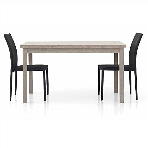 InHouse srls Tavolo Rovere Grigio con 2 allunghe da 40 cm, Stile Moderno, in MDF Laminato e Struttura in Acciaio - Mis. 130 x 80 x 75 Chiuso