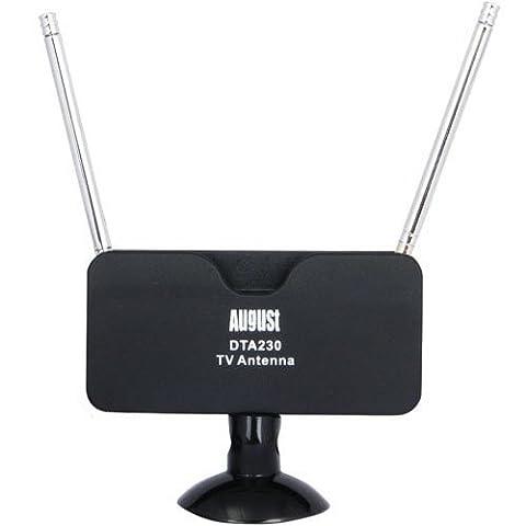 August DTA230 - DVB-T Fernseher-Antenne - Tragbare Doppelstabantenne für digitales Fernsehen / Digital TV / DVB-T Tuner Stick / DAB - Mit Saugfuß