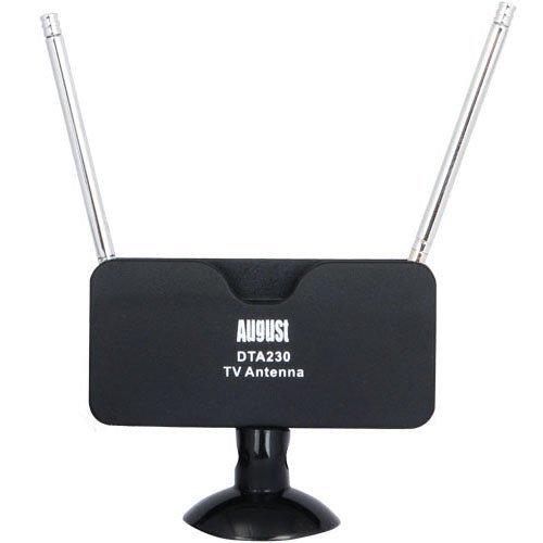 August DTA230Antenne TV TNT–Tragbar Innen/Außen Antenne für Receiver TV USB/TV Digital/Radio DAB–Mit Halterung Saugnapf Abnehmbare
