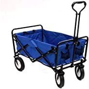 Folding Cart Sport Collapsible Folding Outdoor Utility Wagon-Blue