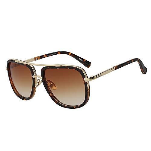 Zbertx Mode Sonnenbrillen Männer Designer Gold Sonnenbrille Männer Quadratische Retro Männlich Frauen Brillen,Leopard W Brown Lens