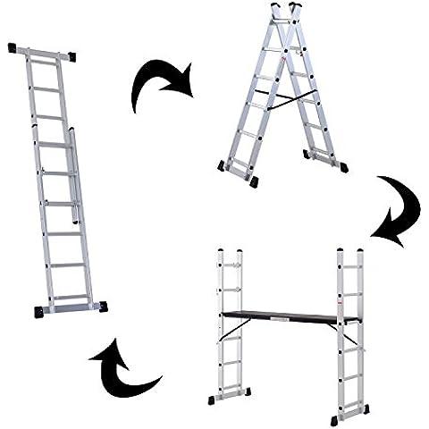 Escalera Aluminio Convertible Andamio Plataforma Trabajo Plegable 150kg 2 Medida (160x40x168cm)
