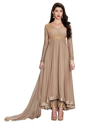 Aria Fabrics Women's Faux Georgette Semi-stitched Anarkali Gown (BEIGE-1002-B)