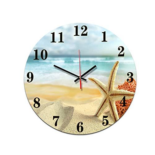 LUOYLYM Seestern Wohnzimmer Digitale Wanduhr Wanduhr Acryl Stumm Startseite Kreative Stereo Handwerk Uhr Randlose Wecker P190430-35 28cm
