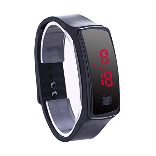 Tomtopp Fashion LED Bracelet Digital Watches Unisex Sports Wristwatch(Black)