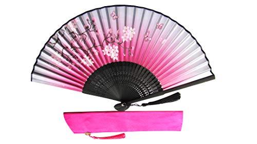 CHN Elements-Fan-5-Orientalischer Bambus-Fächer mit Abdeckung, Schmetterlings- und Kirschblüten-Design, Pink -