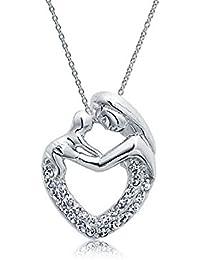 Bling Jewelry Plata de Ley Madre y Niño Familia Corazón colgante para Allanar CZ