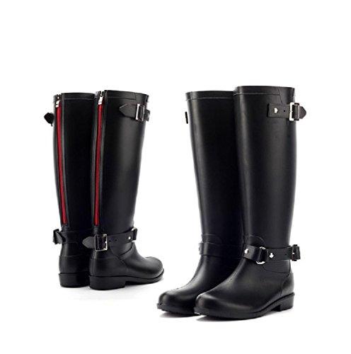 Moda Fibbia chiusura a zip Stivali da pioggia Donna o ragazza Impermeabile Stivali da pioggia black / red zipper