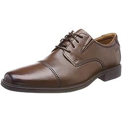 Clarks Tilden Cap, Zapatos de Cordones Derby para Hombre, Marrón (Dark TanLea), 42 EU