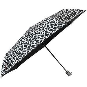 John's Umbrella 3 Fold Auto Open and Close Light Weight Designer (Black and White, 495mm)
