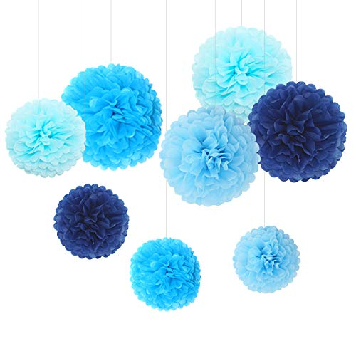 (Feelshion 8x Seidenpapier Dekoration PomPoms Tissue PomPons Papierblume für Hochzeit Baby shower Partei Feier kommunion Blau)