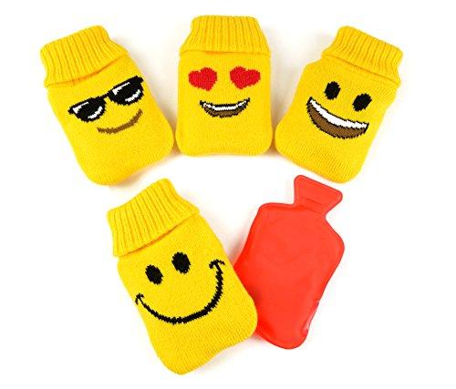 * 4er-Set Handwärmer mit Strick-Überzug | Design: Gelb mit Smileys | Latentwärmespeicher Taschenwärmer Taschenofen | ca. 7 x 12 cm