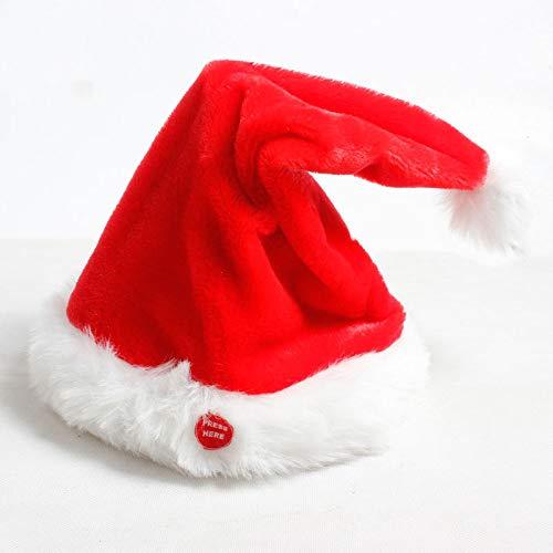 juler 2 stücke Saisonale Dekor Weihnachten Neuheit Dekoration Weihnachten Elektrische Weihnachten Hut Roter Samt Weihnachten Musik Swing Cap,rot,Einheitsgröße