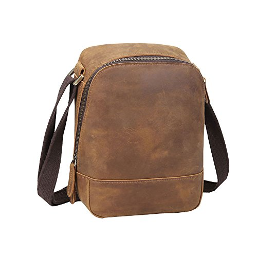 Othilar Herren Damen braun klein Leder Tasche Handtasche Schultertasche Aktentasche für IPad Alltag Reise Braun