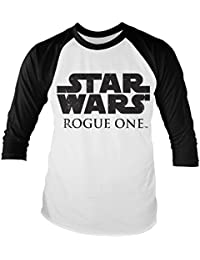 Officially Licensed Merchandise Star Wars Rogue One Logo Baseball Long Sleeve T-Shirt (White/Black)