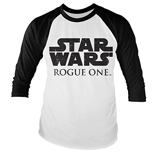 Officially Licensed Merchandise Star Wars Rogue One Logo Baseball Long Sleeve T-Shirt (White/Black), X-Large (Ringspun-baseball-t-shirt)