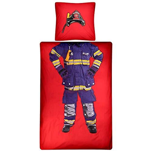 Aminata Kids Feuerwehr Bettwäsche 135 x 200 cm + 80 x 80 cm aus Baumwolle mit Reißverschluss, unsere Kinderbettwäsche mit Auto-Motiv ist weich und kuschelig