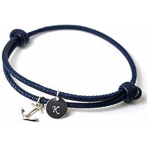 AHOI! Armband Leder & Silber Art. 205-Silber Anker Navy, Personalisiertes Armband mit Initialen, Geschenk für Frauen