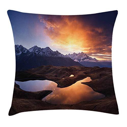 ZTLKFL Lake Throw Pillow Cushion Cover, Sunrise at Mountain Lake Koruldi Caucasian Ridge Zemo Svaneti Georgia, Decorative Square Accent Pillow Case, 18 X 18 inches, Blue Dark Brown Pale Orange