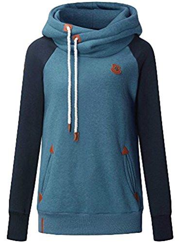 MatchLife Femme Pullover Col Montant Encapuchonné Sweatshirt Décontracté Bleu