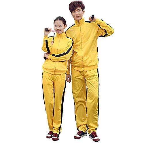 G-like Unisex Training Anzug Sportkleidung - Chinesische Kampfkunst Gelb Uniform Bruce Lee Kung Fu Tai Chi Wushu Jeet Kune Do Jogging Laufen Fitness für Männer Frauen Kinder - Nylon (M) -