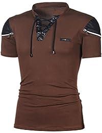 Chemises Homme Chic Casual Mince Solide à Manches Courtes T-Shirt Haut  Malloom 617a856f43d3