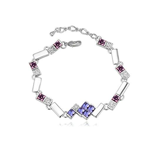 Aooaz placcato in oro bianco braccialetto delle donne, matrimonio braccialetto a catenas CZ Zirconia cubica, (Piazza Della Catena Del Serpente Bracciale Catena)