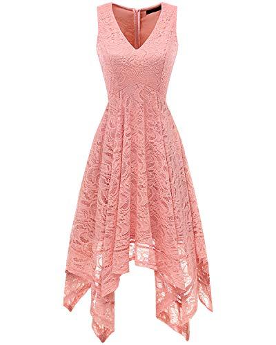 bridesmay Damen Sexy übergröße Spitzenkleid unregelmäßig Cocktailkleid Zipfel Kleid...