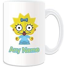 Personalizado regalo – gran bebé taza (Simpsons familia tema de diseño, color blanco)