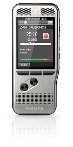 Philips DPM6000 Digital dictaphone, voice recorder, 2mic stereo recording, push button operation, large high-res backlight color display, light sensor, stainless steel, Li-Ion battery, anthracite