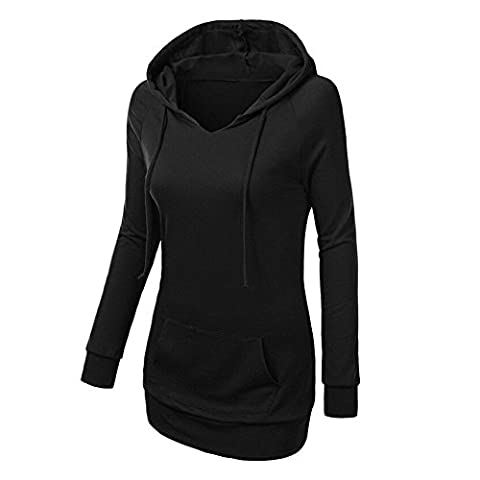 Eleery Sweat à Capuche Femme Chandail Manteau Pull-over Casual Shirt Veste Tops Manches Longues Uni Sport Casual Losir (FR40-42, Noir)