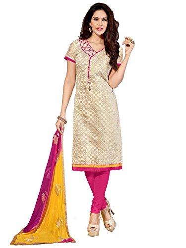 Sr Studio Women's Clothing Designer Party Wear Low Price Sale Offer chiku Color Banarasi Jecquard Free Size Unstitched Salwar Kameez Suit Dress Material Banarasi Jecquard Dupatta