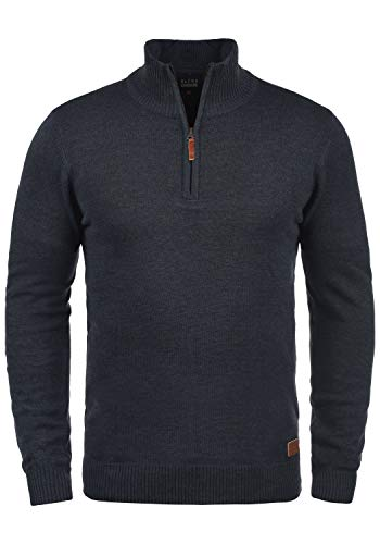 Blend Robin Herren Strickpullover Troyer Feinstrick Pullover Mit Stehkragen Und Reißverschluss, Größe:L, Farbe:Navy (70230)