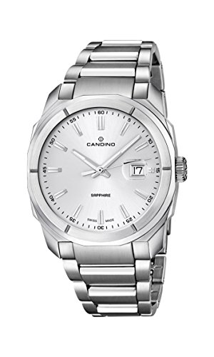 Candino Herren Quarz-Armbanduhr mit Silber Zifferblatt Analog-Anzeige und Silber Edelstahl Armband C4585/1